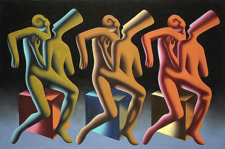 Mark Kostabi, Three Lovers Three Minutes oil on