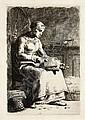 Jean-Francois Millet, La Cardeuse (Delteil/Melot, Jean Francois Millet, Click for value