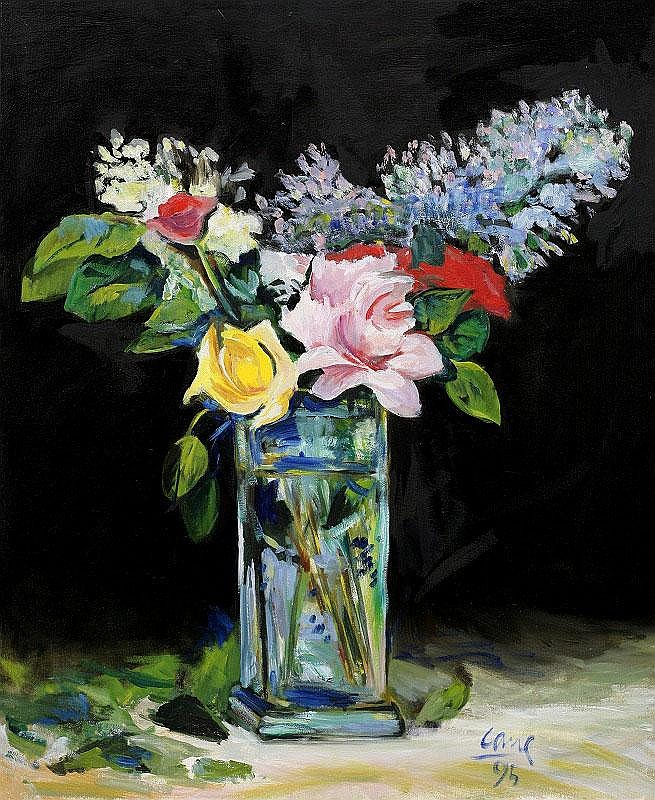 Louis Cane, Flower Base oil on canvas, painted in