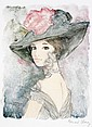 Bernard Charoy, Lady watercolour, pastel and ink, Bernard Charoy, Click for value