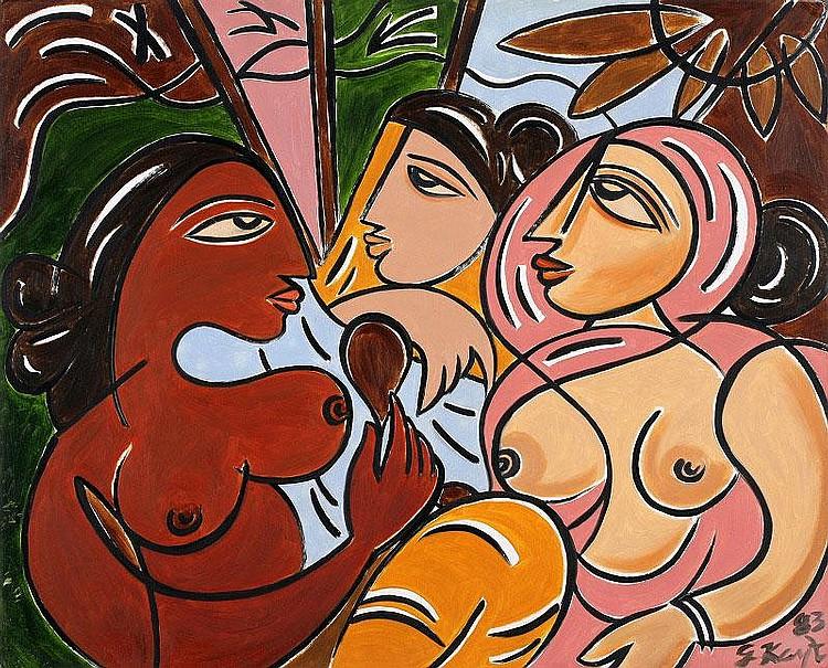 George Keyt, Three female figures oil on paper
