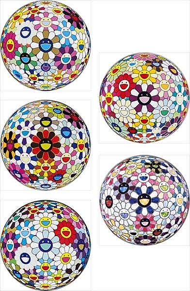 Takashi Murakami, Flower Ball (3-D)-Autumn 2004/ Flower Ball (Lots of Colors)/ Flower Ball (3-D) Sequoia sempervirens/ Flowerball sexual Violet No.1 (3D)/ Right, There, The Breadth of the Human Heart