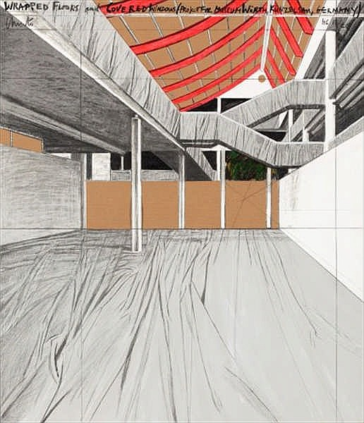 Christo, Wrapped Floors and Covered Windows, Project for Museum Würth, Künzelsau, Germany (Schellmann 164)