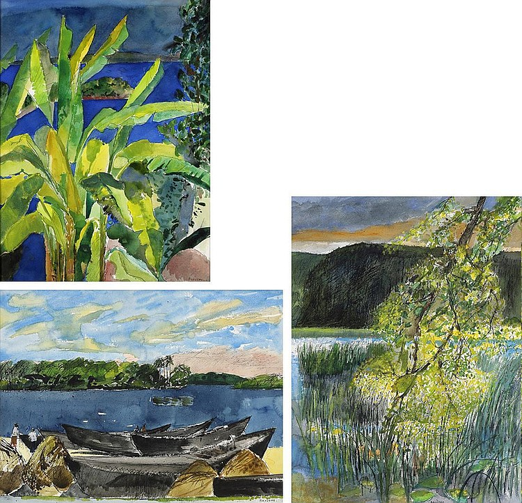 Guy Bardone, Les Bananiers -Ceylan-, Quartier Des Pecheurs -Trincomalee- Ceylan, L'arbre Penche -Jura- (set of 3)