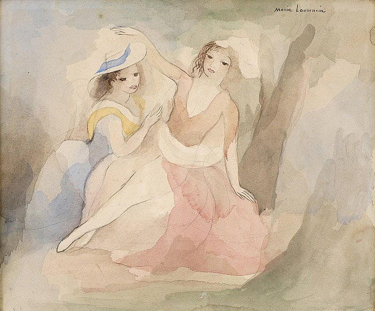 Marie Laurencin, Jeunes filles sous un arbre, bleu, jaune et rose