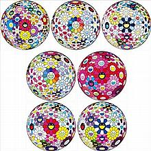 Takashi Murakami, Flowerball Multicolors/ Scenery with a Rainbow in the Midst/ The Flowerball's Painterly Challenge/ Awakening/ Flowerball: Open Your Hands Wide/ Flowerball: Want to Hold You/ Thoughts on Picasso