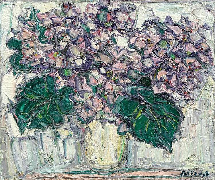 Andre Cottavoz, Bouquet d'hortensias oil on