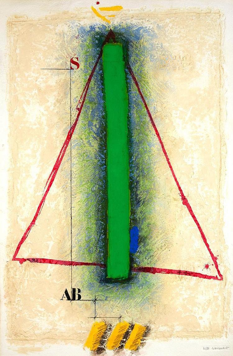 James Coignard, triangle caborundum in colours, on