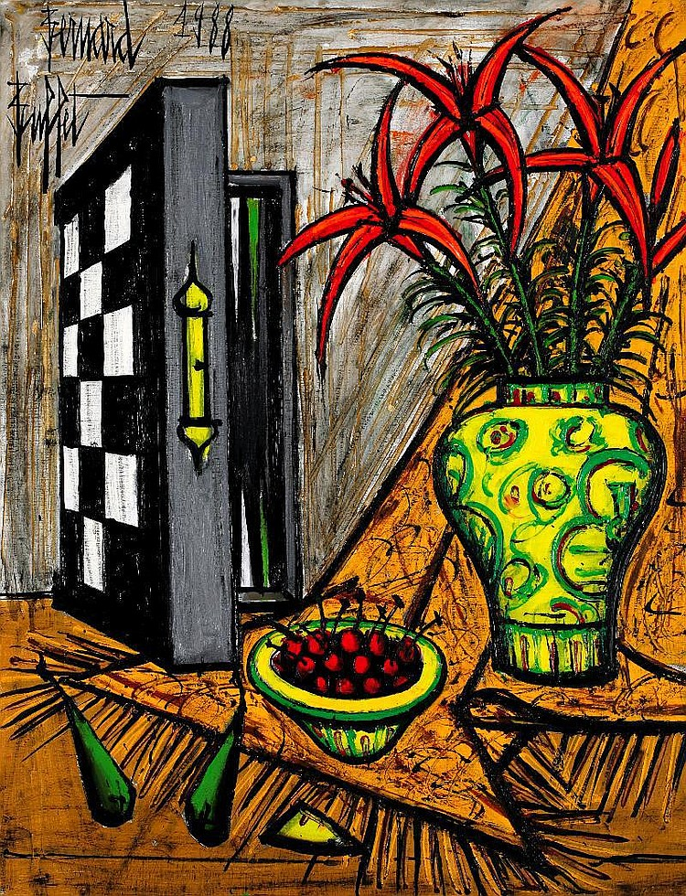Bernard Buffet, Jacquet et liliums oil on canvas,