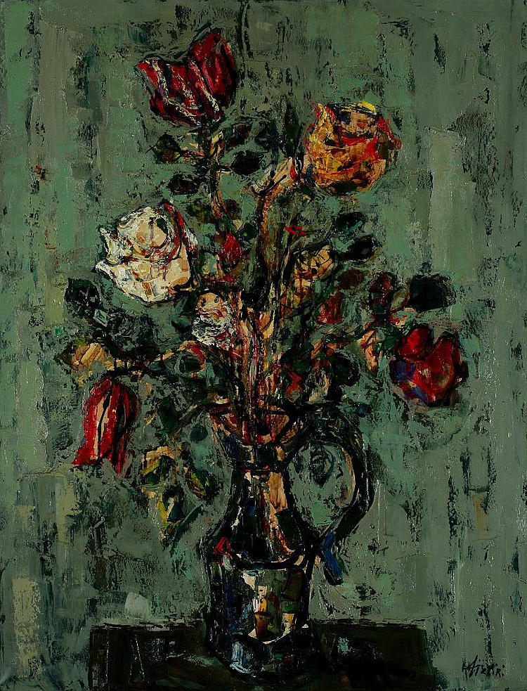Paul Aizpiri, Fleurs oil on canvas, signed (lower