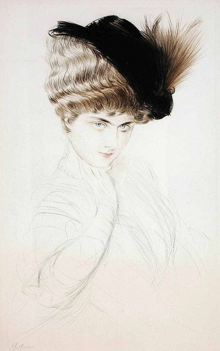 Paul Cesar Helleu, A Lady with plume drypoint in