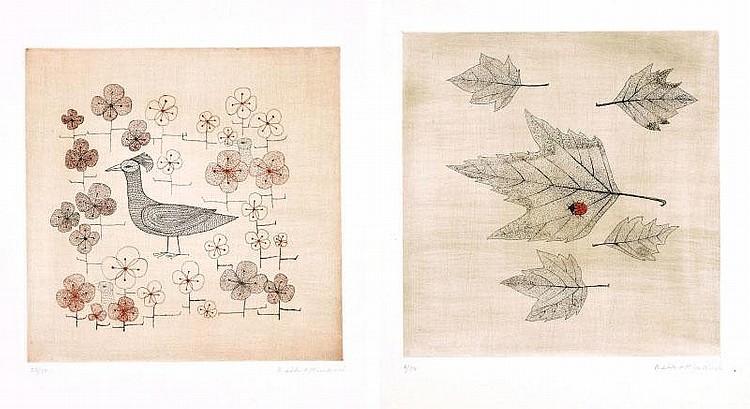 Keiko Minami, Oiseau dans les fleurs/ Coccinelle sur une feuille (set of 2)