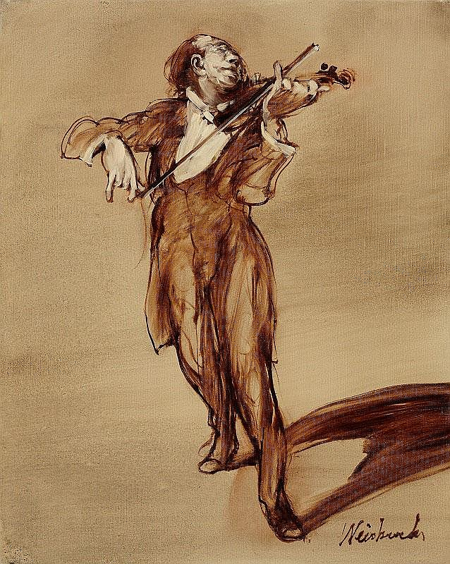 Claude Weisbuch, Violoniste oil on canvas, signed