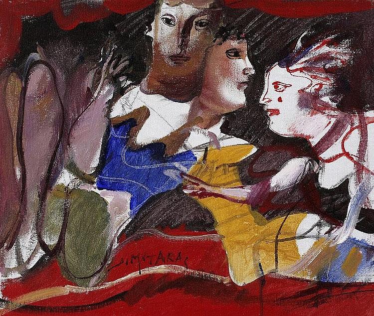 Dimitris Mytaras, Figures oil on canvas, signed