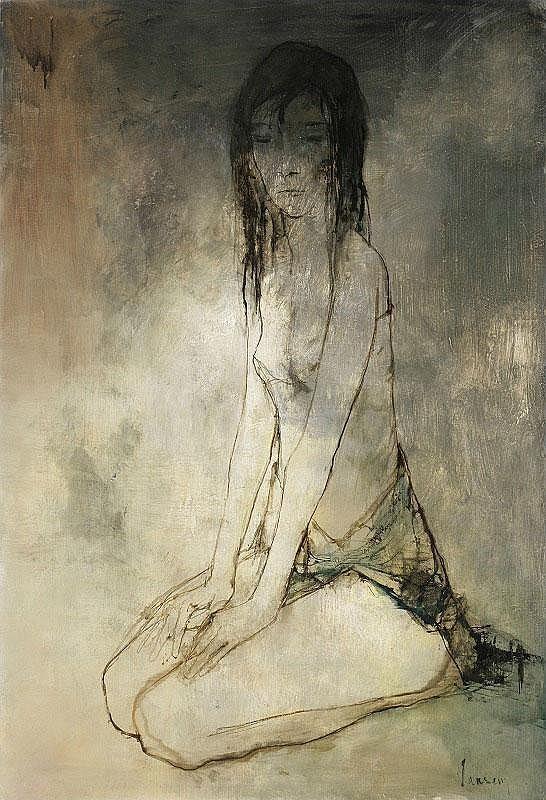 Jean Jansem, Jeune Femme oil on canvas, signed