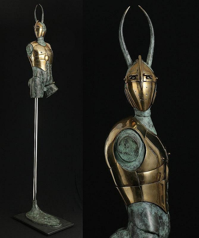 Paul Wunderlich, Minotaur bronze with green