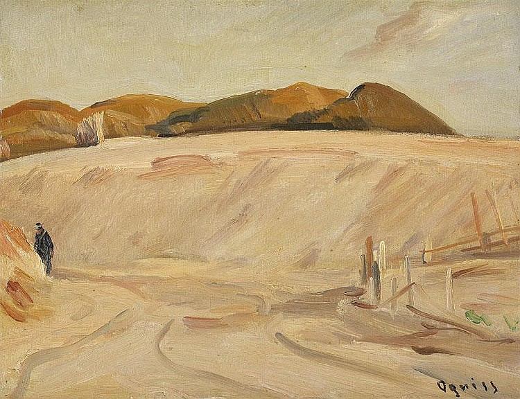 Takanori Oguiss, Landscape of Onjuku oil on panel,