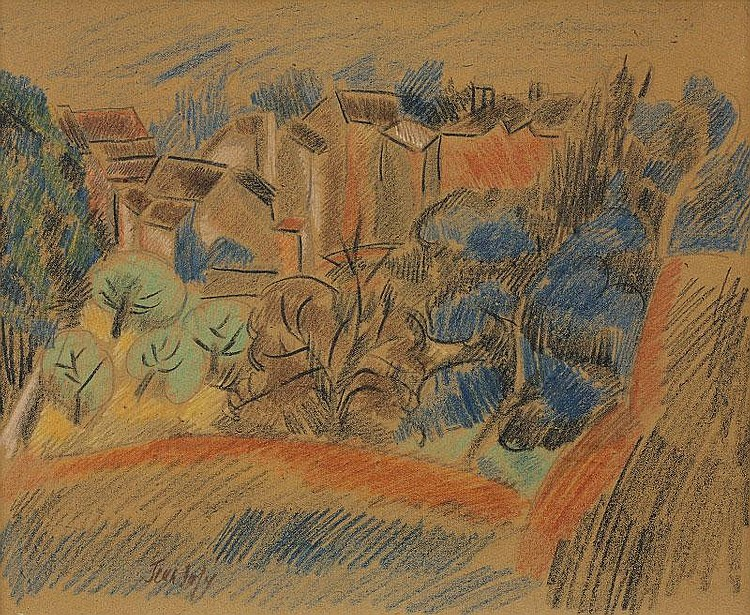 Jean Dufy, Paysage pastel on paper, signed (lower
