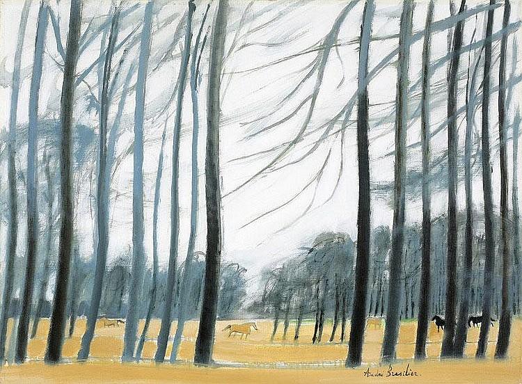 Andre Brasilier, Paysage de Anjou oil on canvas,