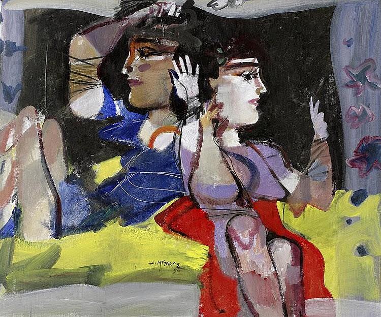 Dimitris Mytaras, Figures oil on canvas, painted