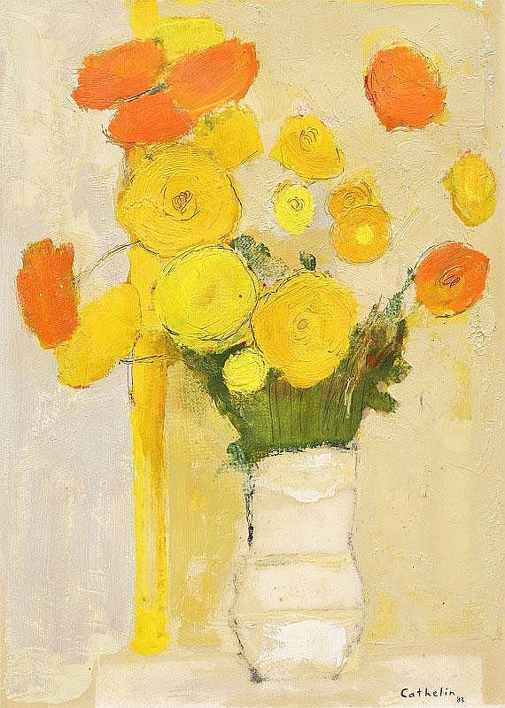 Bernard Cathelin, Bouquet de Fleurs oil on paper