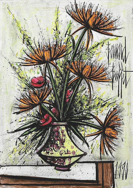 Bernard Buffet, Chrysanthemes oil on canvas,