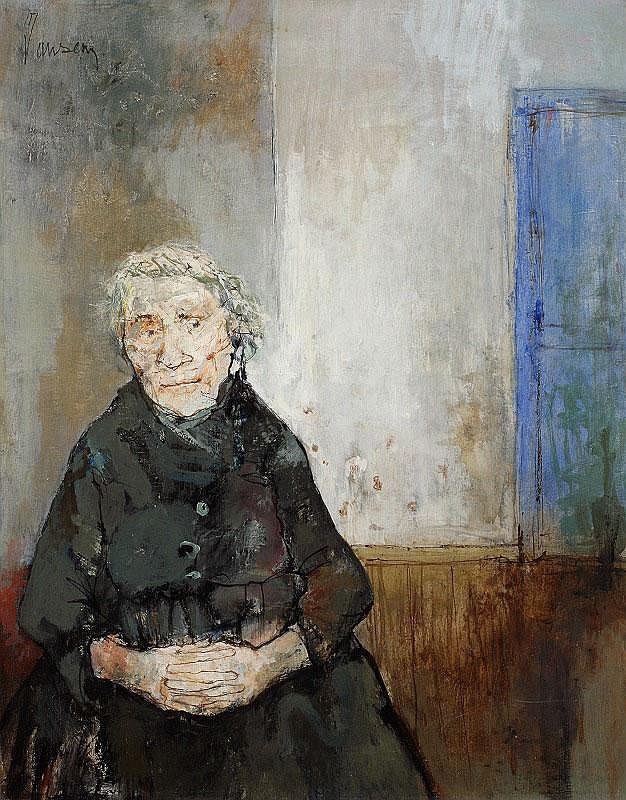 Jean Jansem, La vieille dame a laporte bleue oil