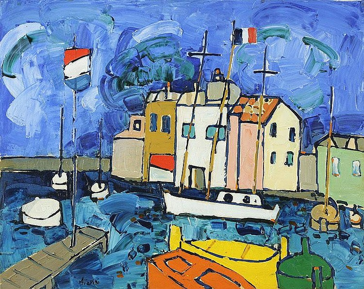 Paul Aizpiri, Le Port oil on canvas, signed (lower