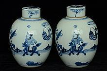 $1 Pair of Chinese Blue White Jars Figure 18th C