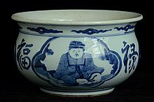 $1 Chinese Blue and White Incense Burner Figure