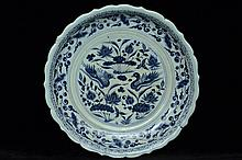 $1 Chinese Yuan Blue and White Plate 14th C