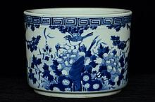 $1 Chinese Blue and White Brush Pot 19th C