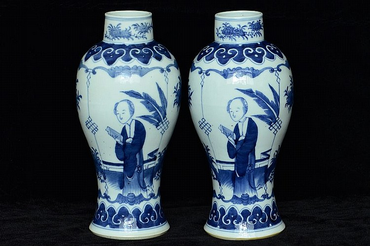 $1 Pair of Chinese Vases Figure Kangxi Mark 19C