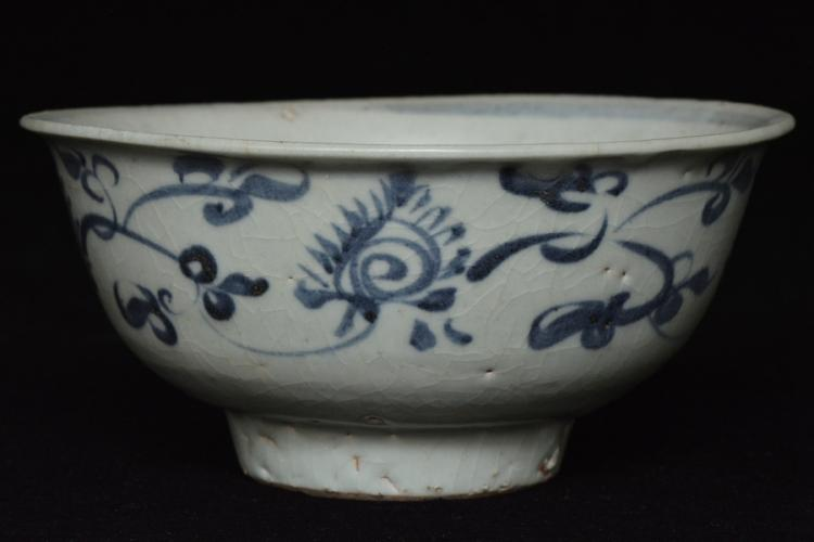 $1 Chinese Yuan Blue and White Bowl 14th C