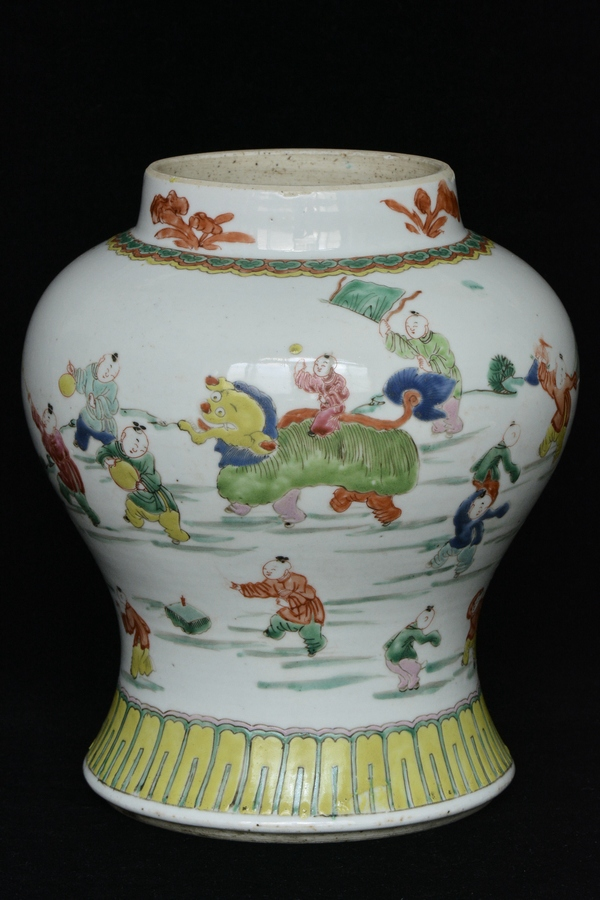$1 Chinese Famille Rose Jar Figure 18th C