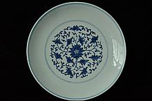 $1 Chinese Blue White Plate Qianlong Mark