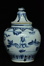 $1 Chinese Ming Blue and White Jar Figure 15th C
