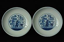 $1 Pair of Chinese Blue White Plate Daoguang Mark