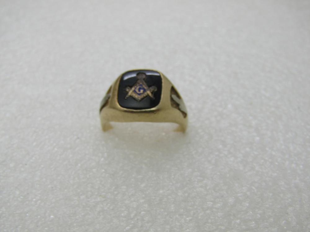 Vintage 14kt Onyx Masonic Ring, Sz. 8, 7.05 Gr.