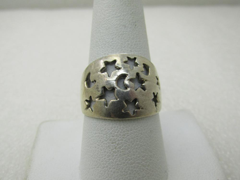 Vintage Moon & Star Cigar Band Ring, Sz 9.75, Unisex, 5.60 gr.
