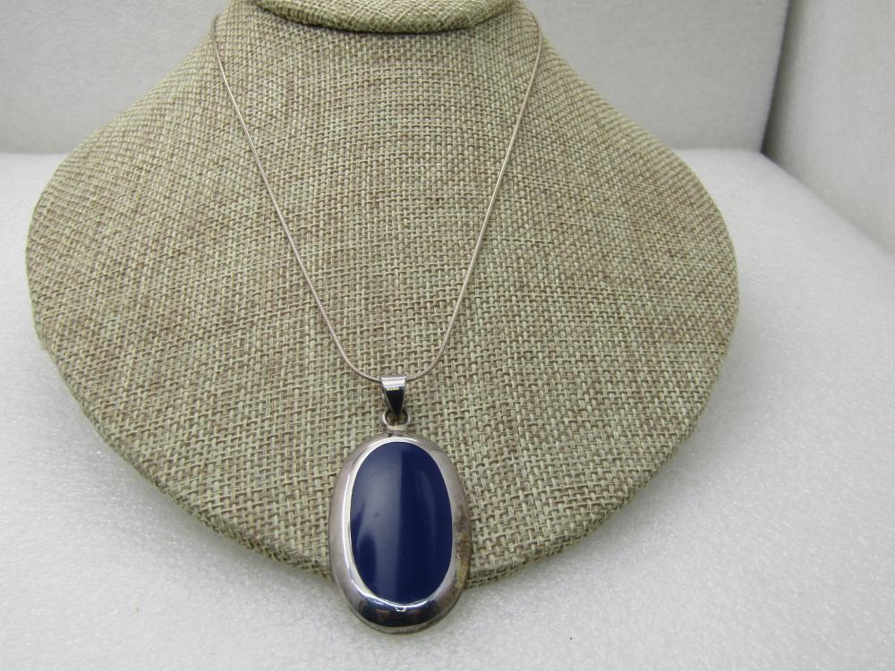 "Vintage Sterling Navy Blue Inlaid Necklace, Southwestern Vibe, 18"""
