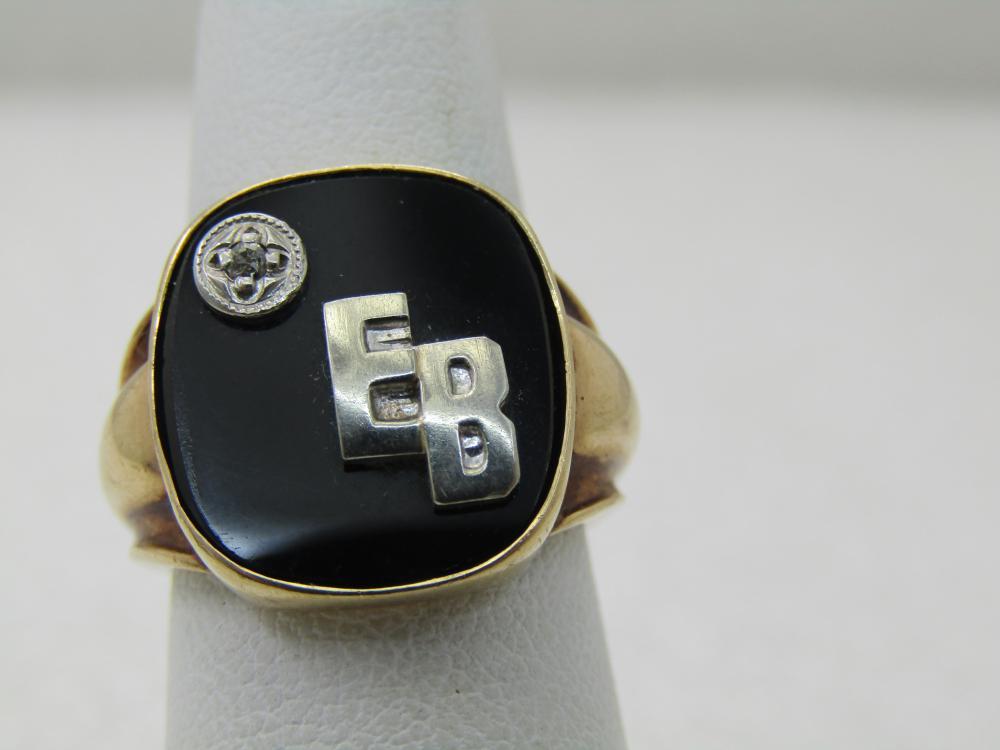 Vintage Men's 10kt Onyx Diamond Ring Initials EB in White Gold, Sz. 5.