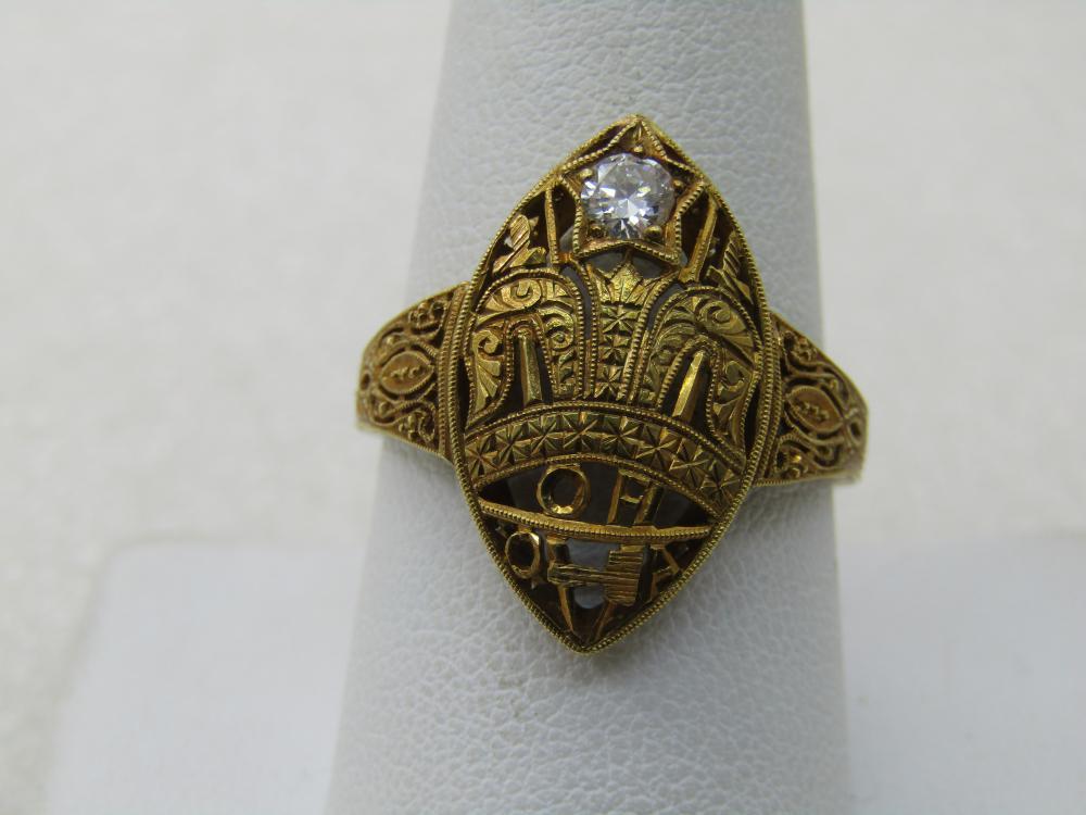 18kt Masonic Antique Order of Amaranth Ring. 5 CTW Diamond Ring, Miligrain Ornate Design, Sz. 10, 4.80 gr.