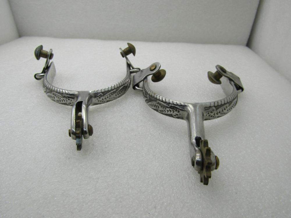 """Vintage Western Spurs, Scrolled Accents, Silver Tone, 3"""" Opening"""