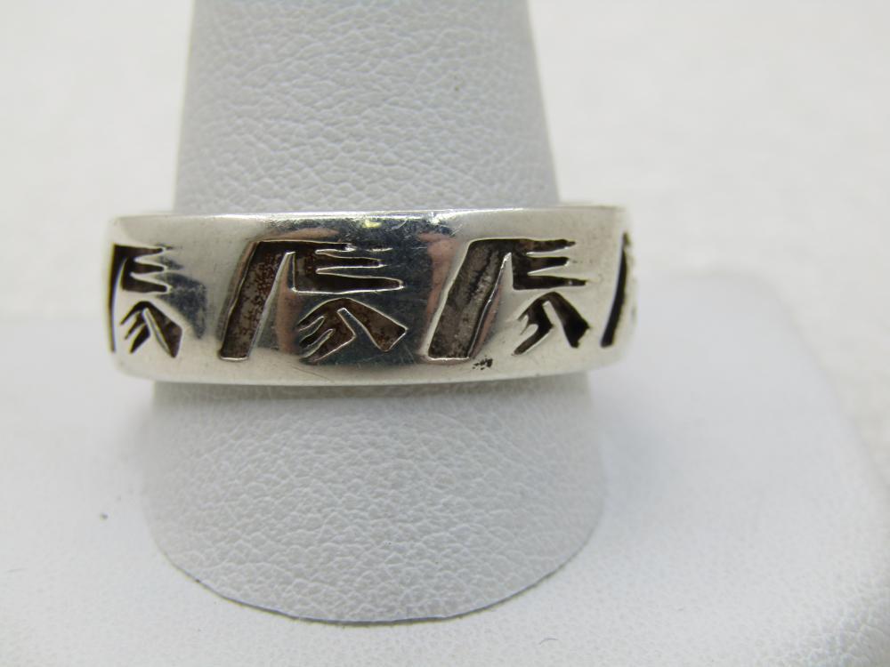 Vintage Sterling Southwestern Men's Ring, Band, 7.5mm, Sz. 14.25, Appx. 9.0 Gr.