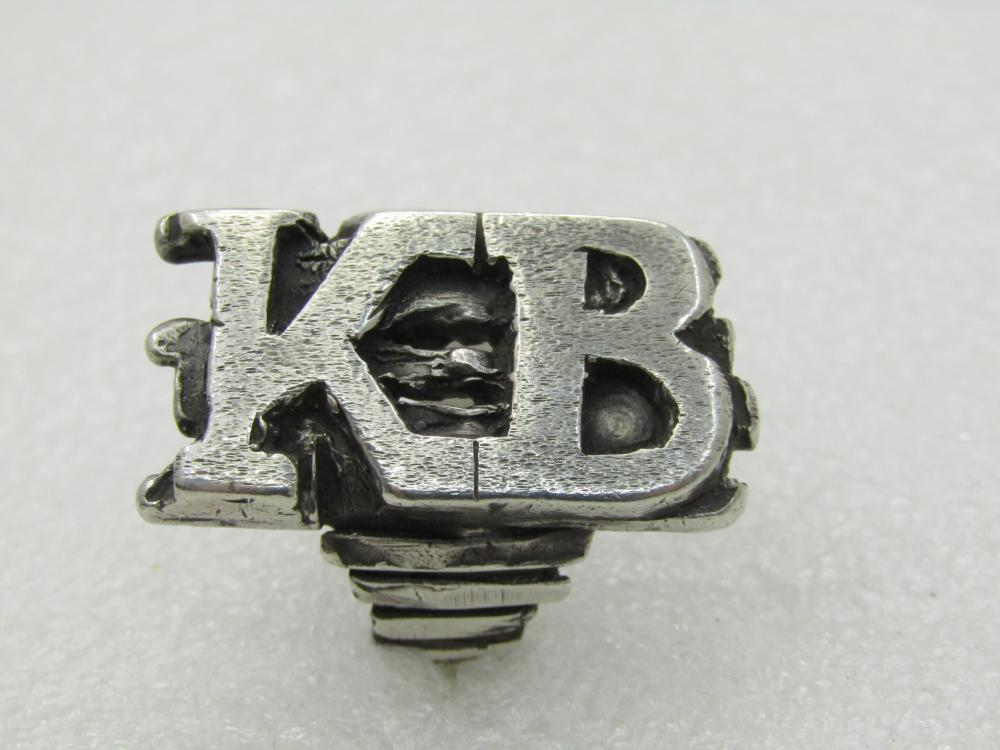 Vintage Sterling KB Men's Initial Ring, Biker Ring, Sz. 14, Heavy/Statement
