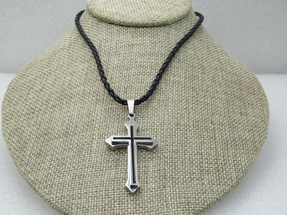 "Stainless Steel Cross, Black Braided Necklace, 20"", Black Enameling on Cross"