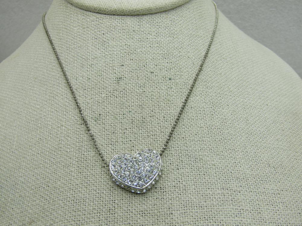 "Vintage Rhinestone Pave Heart Necklace, 17"""