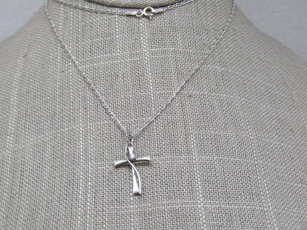 """Vintage Sterling Cross Necklace with CZ, 24"""""""