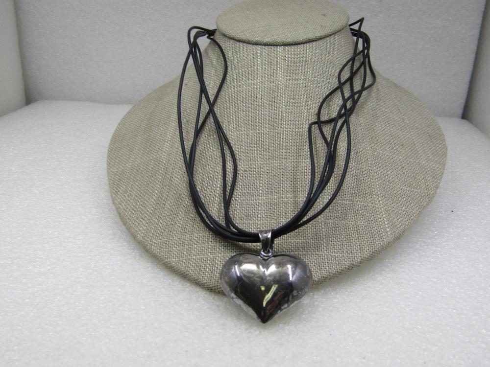 "Vintage Sterling Heart Pendant Multi-Cord Necklace, 18-20"""